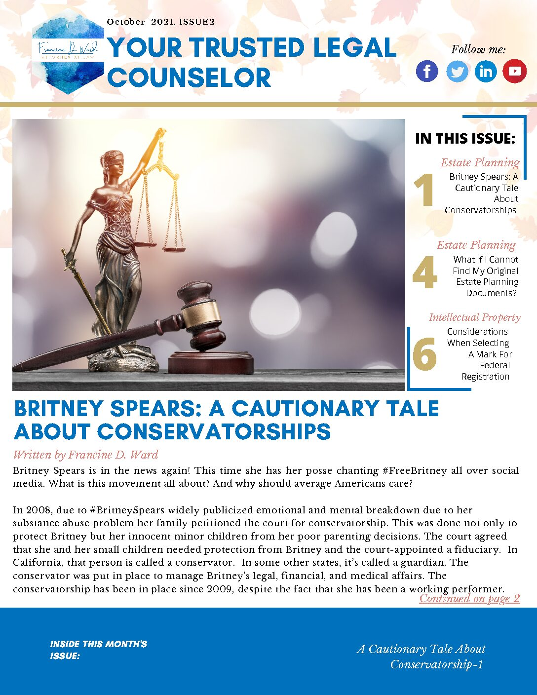 October Newsletter Francine D Ward Your Trusted Legal Counselor